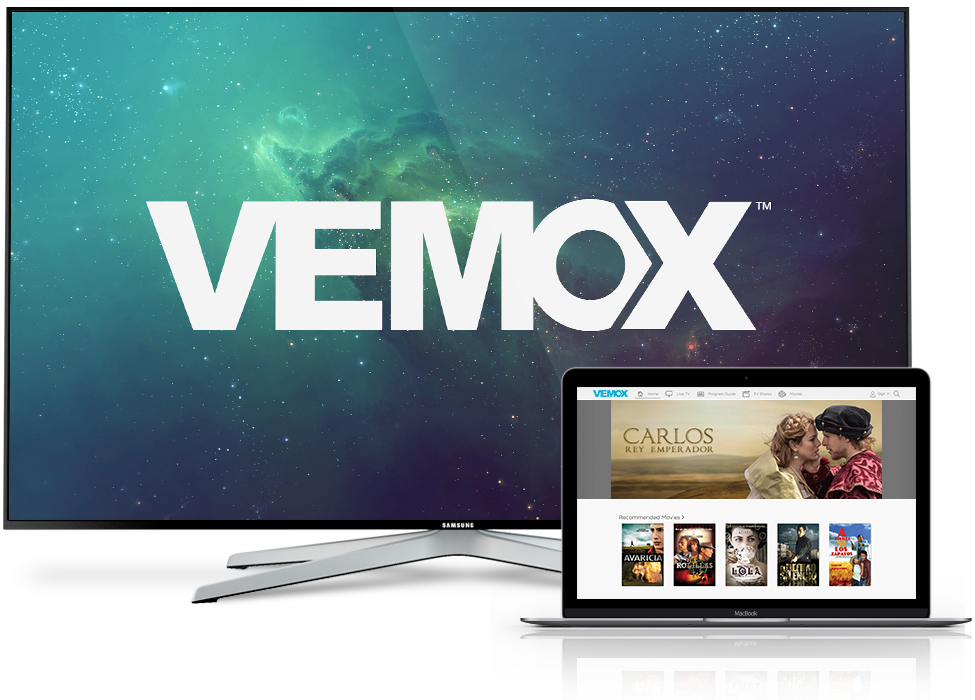VEMOX TV and laptop